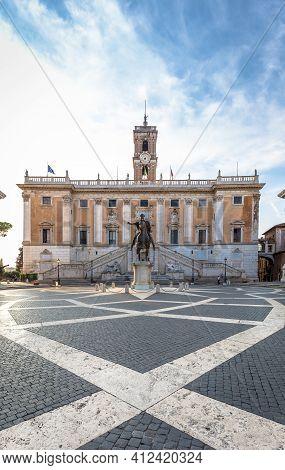 Rome, Italy - Circa August 2020: Capitolium Square (piazza Del Campidoglio). Made By Michelangelo, I
