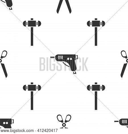 Set Scissors, Electric Hot Glue Gun And Sledgehammer On Seamless Pattern. Vector