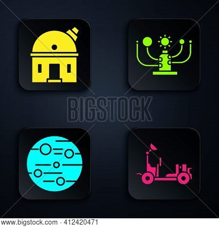 Set Mars Rover, Astronomical Observatory, Planet Mars And Solar System. Black Square Button. Vector