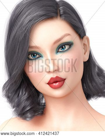 Portrait Pretty Fashionable Girl.