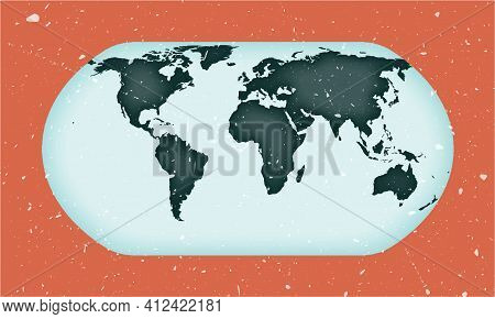 World Map Poster. Natural Earth Projection. Vintage World Shape With Grunge Texture. Awesome Vector