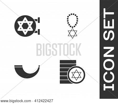 Set Jewish Coin, Synagogue, Traditional Ram Horn, Shofar And Star David Necklace Chain Icon. Vector