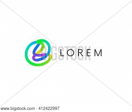 Abstract Linear Spiral Colorful Logo Vector Design. Cool Trendy Logotype Abstraction.