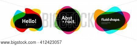 Set Of Abstract Overlapped Colorful Geometric Shapes. Logo And Banner Creative Trendy Template.