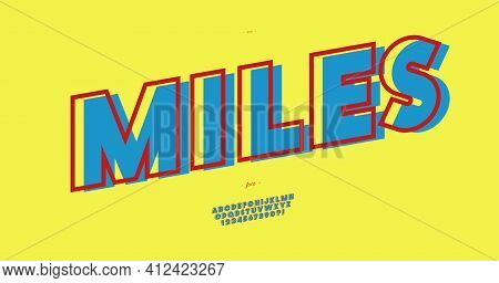 Vector Miles Font Bold Color Style Modern Typography For T Shirt, Game, Book, Racing, Infographics,