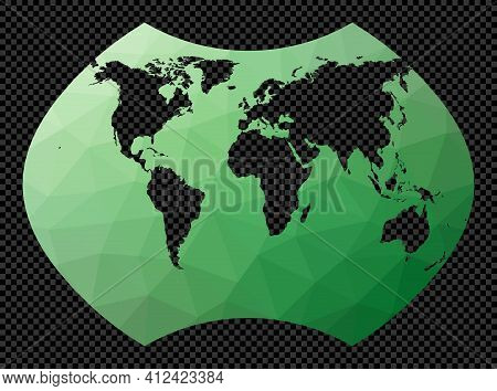 World Map. Ginzburg 9 Projection. Polygonal Map Of The World On Transparent Background. Stencil Shap