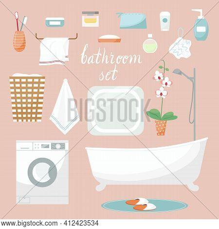 Modern Bathroom Cartoon Elements. Vector Bathroom Interior Furnitture And Hygiene Accessories. Handd