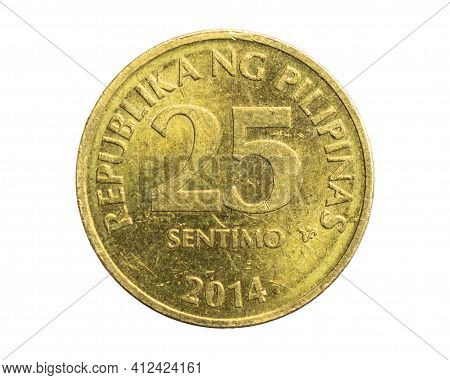 Philippines Twenty Five Sentimo Coin On White Isolated Background