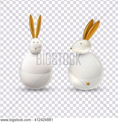 Vector White Ceramic Easter Bunny. Decorative Realistic Object For Easter Day.happy Easter. Festive