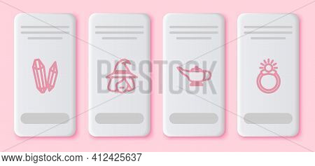 Set Line Magic Stone, Witch, Lamp Or Aladdin And Ring With Gem. White Rectangle Button. Vector