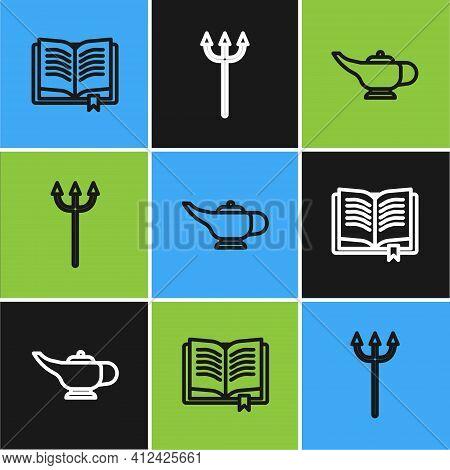 Set Line Ancient Magic Book, Magic Lamp Or Aladdin And Neptune Trident Icon. Vector