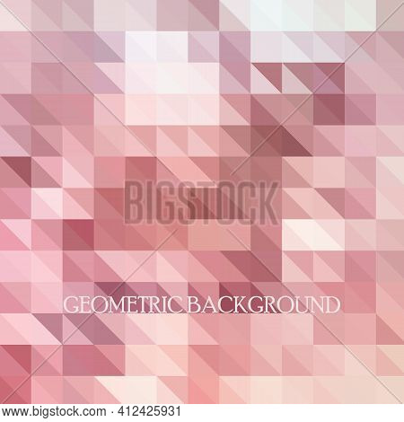 Colorful Pink Origami Triangles Pattern Background. Conceptual Pink Background.