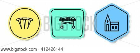 Set Line Metallic Nails, Dead Body In The Morgue And Church Building. Colored Shapes. Vector