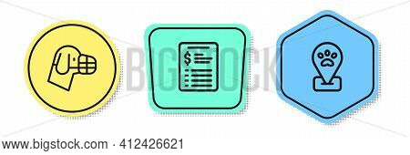 Set Line Dog In Muzzle, Grooming Salon Price List And Location Pet Grooming. Colored Shapes. Vector