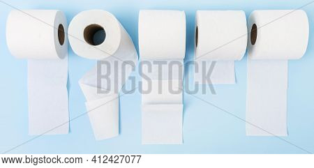 Top View Toilet Paper Rolls Unfolded. High Quality And Resolution Beautiful Photo Concept