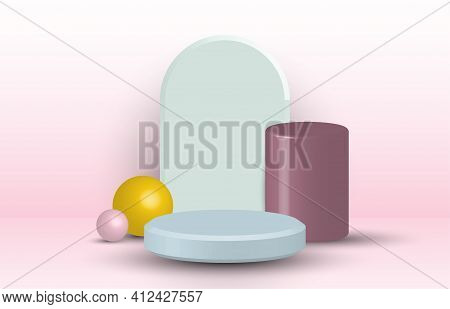 Abstract 3d Rendering Design Artwork Of Geometric Style Pattern. Studio Show Case With Shadow Style