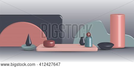 Abstract 3d Rendering Screen Design Of Wide Presentation Geometric Artwork Template. Many Styles Of