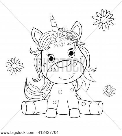 A Small Sitting Unicorn Is Drawn In Black Contour Lines For Children's Coloring. Unicorn Baby On A W