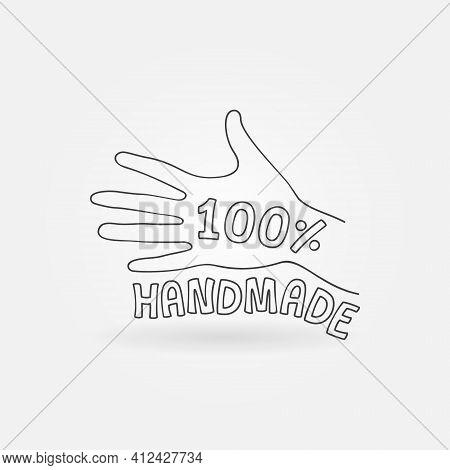 100 Percent Handmade Vector Label. 100 Hand Made Icon