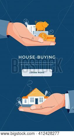 House-buying Concept. Buyer Brings Money For Home Purchase Dealing. Seller Gives House To Customer.
