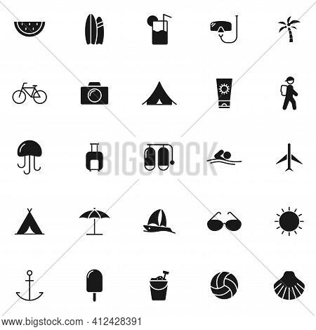 Summer Black Vector Icons Isolated On White Background. Summer Icon Set For Web And Ui Design, Mobil