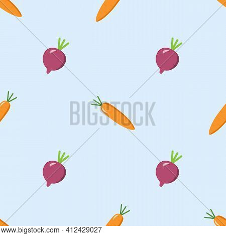Carrots And Beetroot Wallpaper. Seamless Pattern On White Background. Design For Fabric, Textile Pri
