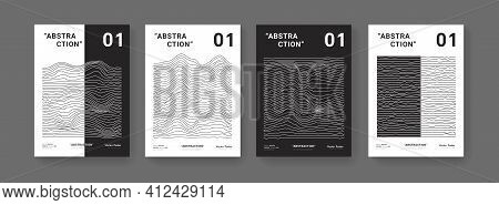 Set Of Minimal Modern Posters. Distorred Wavy Lines Pattern. Abstract Waves Composition.