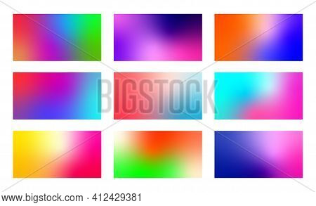 Set Of Abstract Colorful Gradient Backgrounds. Modern Blurred Color Backdrops.