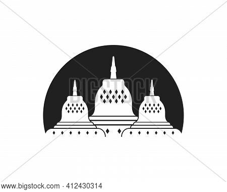 Borobudur Is Indonesian Temple One Of The Words Miracles Vector Illustration