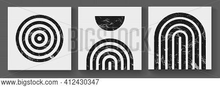 Mid Century Modern Art Print. Abstract Geometric Texture Shapes. Illustration Bauhaus Design. Minima