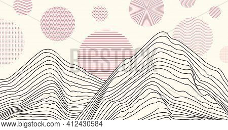 Abstract Chinese Style Pattern. Landscape Hills Background.