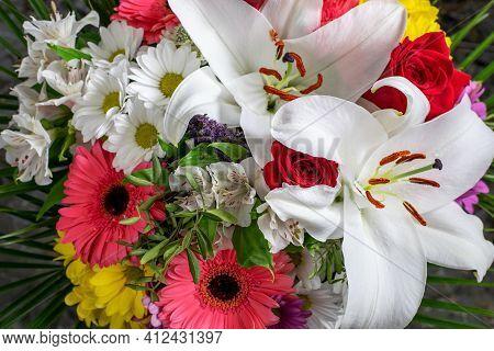 Spring Flowers Bouquet Closeup. Nice Gift Spring Flowers Bouquet For Mother's Day, Women's Day Or An