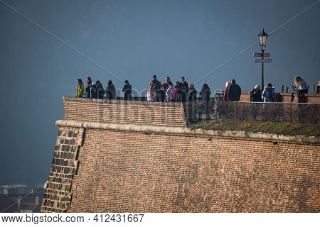 Prague, Czech Republic - February 24, 2021. People On Vysehrad Viewpoint Not Accepting Wearing Mask