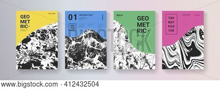 Modern Abstract Covers. Cool Geometric Shapes Com,position. Grunge Textures. Mountains Illustration.