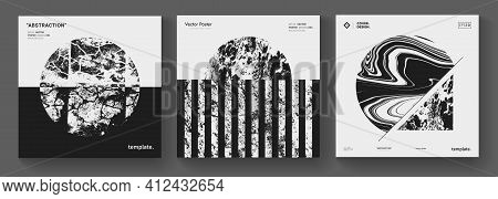 Modern Minimal Background. Abstract Geometric Music Album Cover. Textured Circle Shape Vector Design
