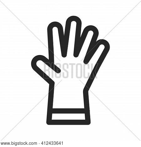 Surgical Or Medical Latex Glove. Rubber Garden Gloves Line, Outline Icon. Protection From Coronaviru