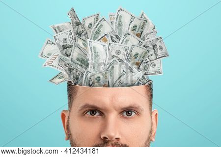 Business Thinking, Money, Dollars Sticking Out Of The Mind Of A Man Instead Of A Brain. Creative Bac