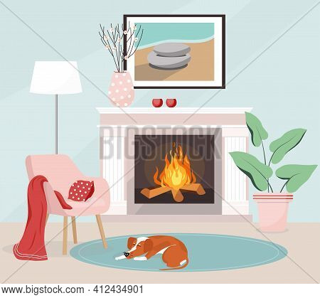 Vector Illustration Cozy Home Interior. Living Room With Fireplace, Floor Lamp, Vase. The Painting H