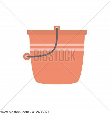 Red Plastic Bucket With Black Handle Isolated On White Background, Bucketful For Washing Food, Water