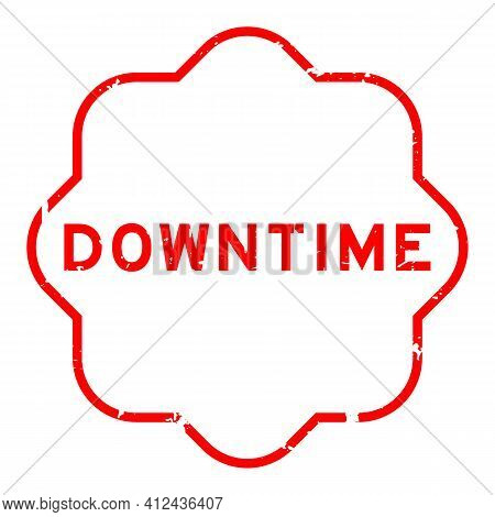 Grunge Red Downtime Word Rubber Seal Stamp On White Background