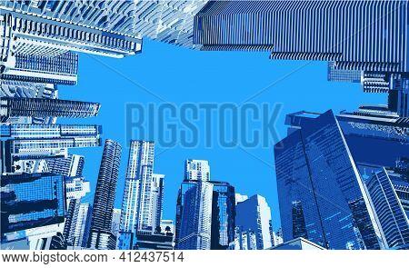 Landmark With Building Of Miami, Usa. Watercolor Splash Illustration In Vector.