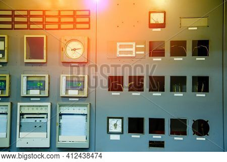 Electric Voltage Control Room. Electricity Control Panel With Buttons And Levers At Control Room Of