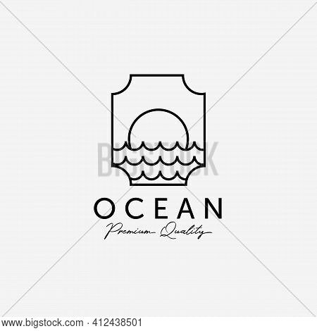 Label Of Ocean Sunset Sunrise Line Art Logo, Illustration Design Of Atlantic Marine, Horizon Vector