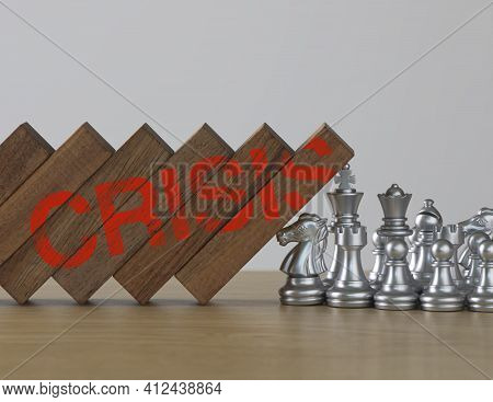 Crisis Management, Risk Management, Crisis Solving Or Problem Solving Concept. Chess Stopping Wooden