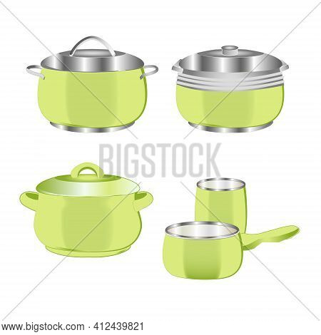Pans And Pots Realistic Set. Light Green Pan Saucepan And Bowl Isolated Vector Illustration.