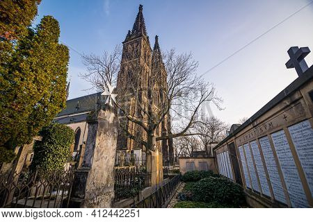 Prague, Czech Republic - February 24, 2021. Basilica Minor In Vysehrad Fortress Area