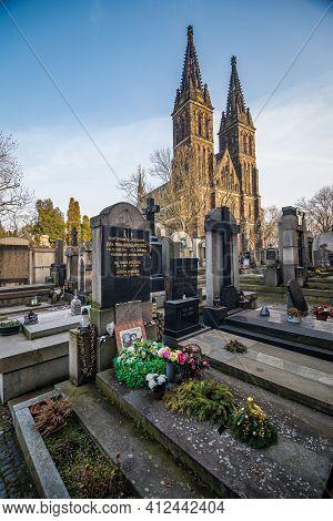 Prague, Czech Republic - February 24, 2021. Grave Of Writer And Traveler Miroslav Stingl And Basilic