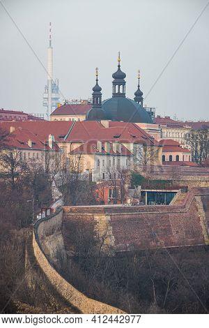 Prague, Czech Republic - February 24, 2021. Church Of The Assumption Of The Virgin Mary And St. Char