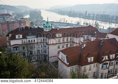Prague, Czech Republic - February 24, 2021. The Institute For The Care Of Mother And Child (ustav Pr