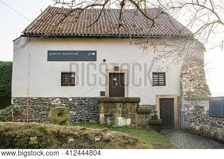 Prague, Czech Republic - February 24, 2021. Vysehrad Gallery Is The Remains Of A Medieval Watchtower